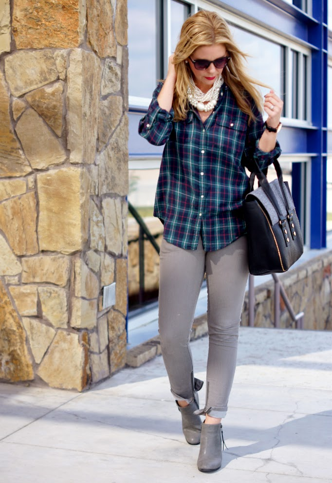 Plaid flannel with gray skinny denim