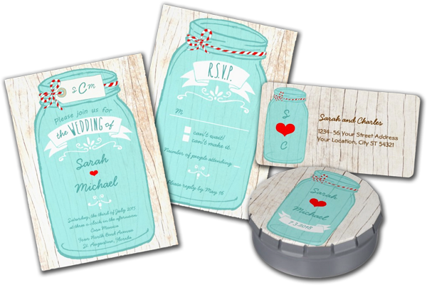 Red & Mint Mason Jar Wedding Personalized Invitations