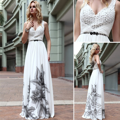 Print White Oriental Style V-Neck Floor Length Dress