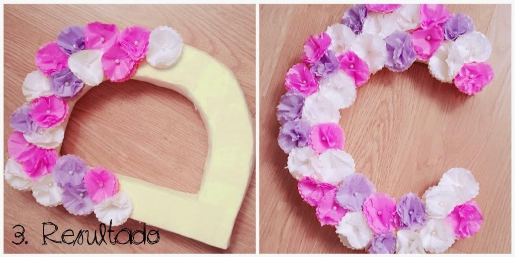 Tutorial letras con flores de papel presume de boda blog - Decorar letras de corcho blanco ...