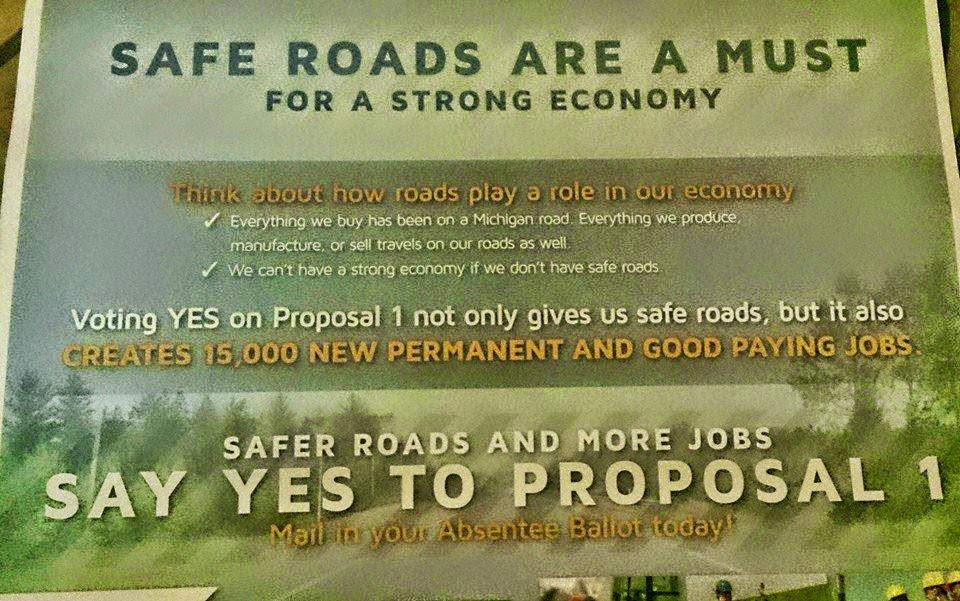 Photo Credit - Independent Underground News & Talk - The First Marketing Flyer for Michigan's Proposal 1 of 2015 Measures 'Mostly False' by the Truth Meter Standard of Measurement