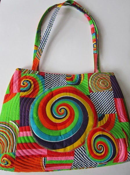 Quilted patchwork bag bright colours