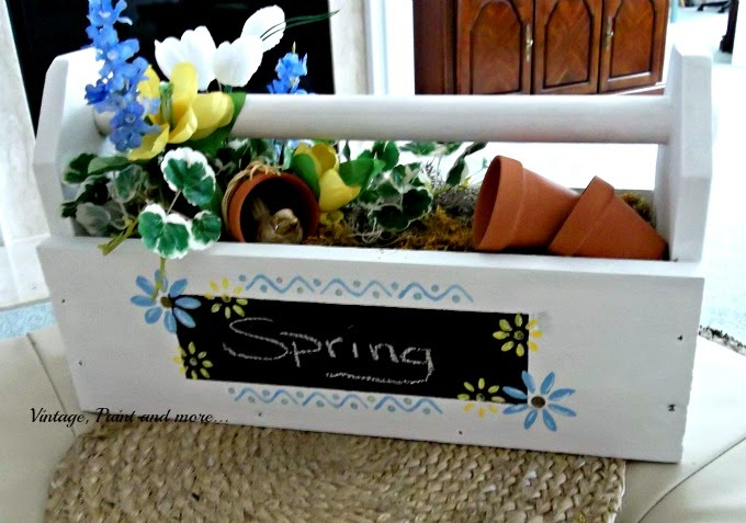 Toolbox to Spring Centerpiece - chalkpaint toolbox with chalkboard and stenciling