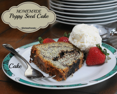 Homemade Poppy Seed Cake ♥ KitchenParade.com, an old family recipe, moist and flavorful with stripes of chocolate-cinnamon streusel.
