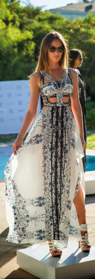White Floral Maxi Dress With White Heel