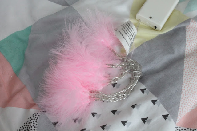 Pink fluffy battery operated fairy lights