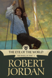 Cover of The Eye of the World, featuring a young, redheaded white man clinging to a ship's mast.