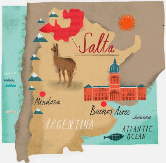 Map illustration showing wine country in Argentina