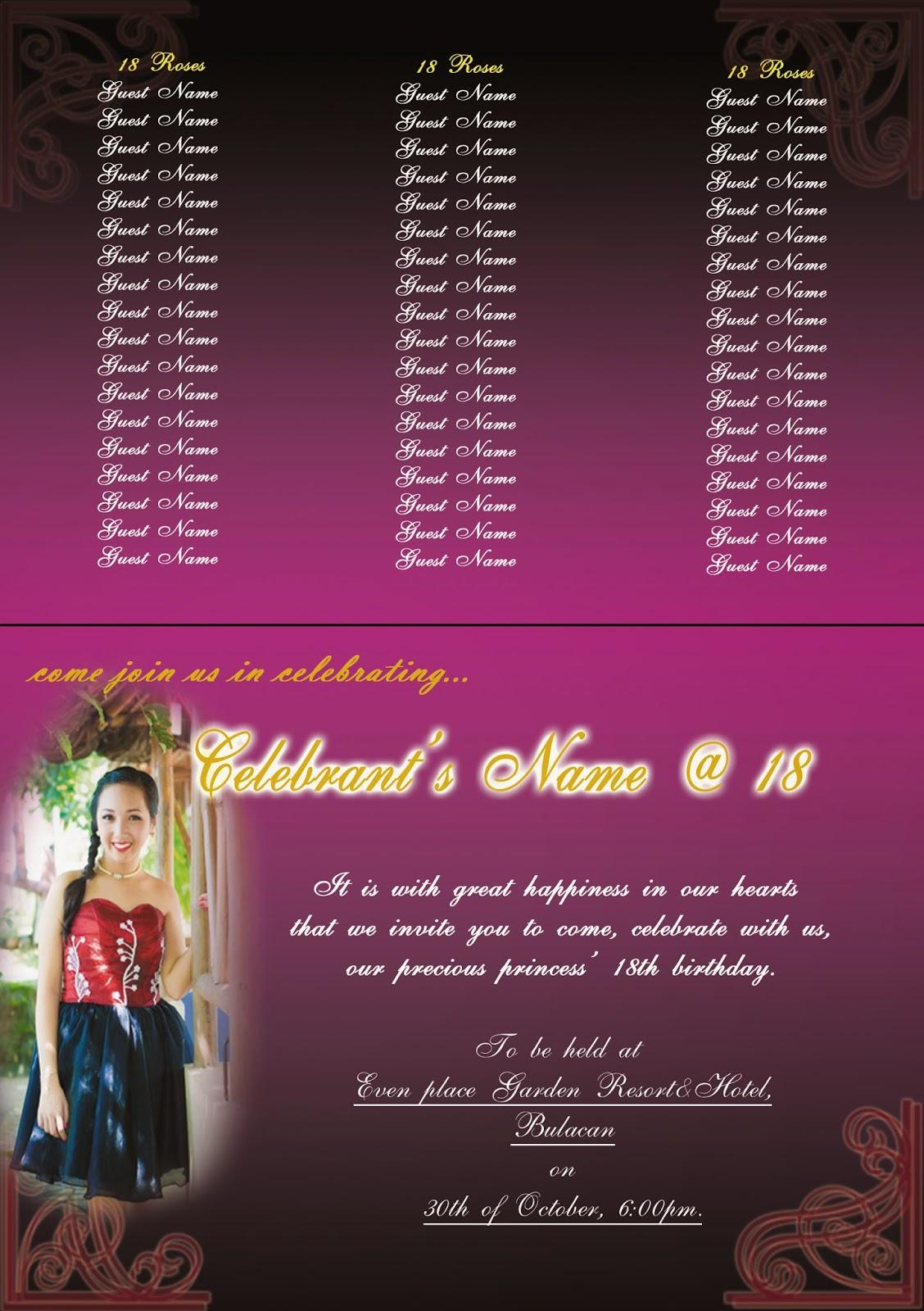 kawang gawa first design th birthday invitation card, invitation samples