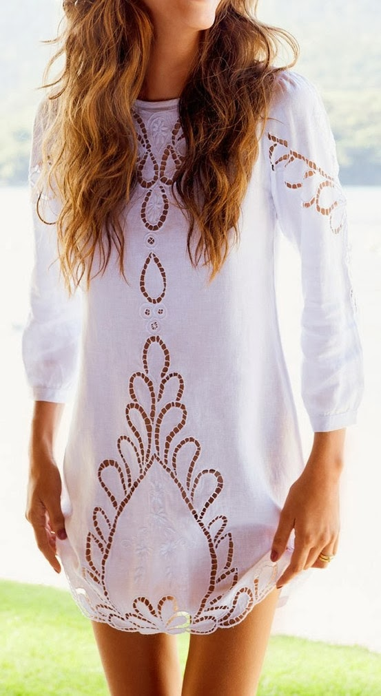 White Eyelet Tunic with floral work
