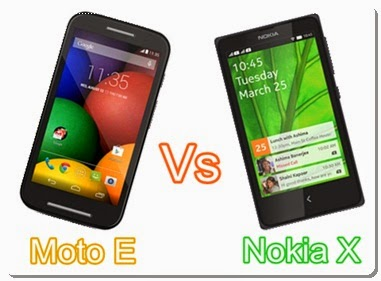 Moto E versus Nokia X Android Comparison Specifications and Price