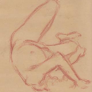 Zeichnung in Rötel: Aktpose Mann, liegend