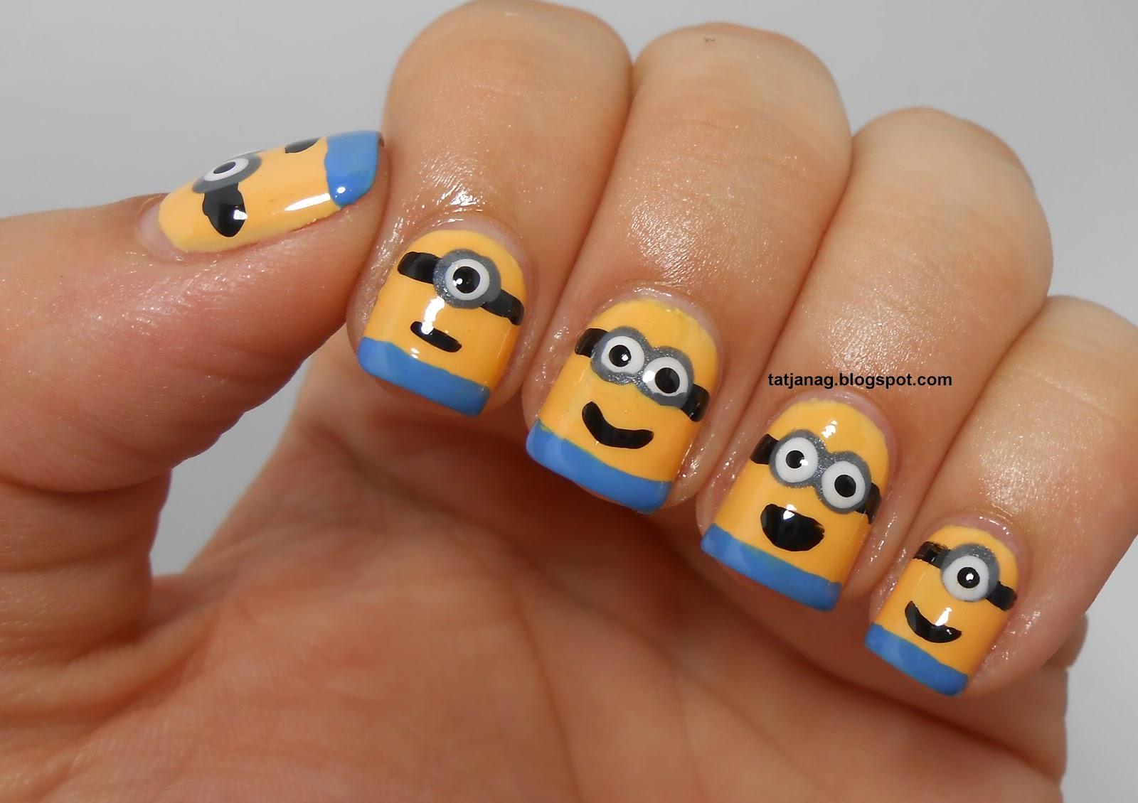Как нарисовать миньонов на ногтях