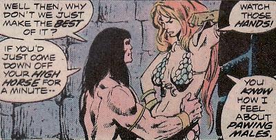 Conan the barbarian #44, Conan gropes Red Sonja