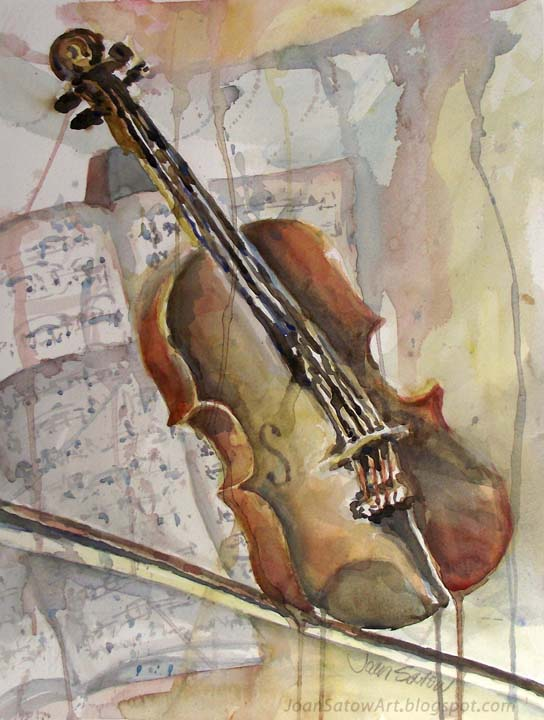Watercolor Painting Violin 11 X 14 Matted To 16 20 Original SOLD Prints Available Upon Request