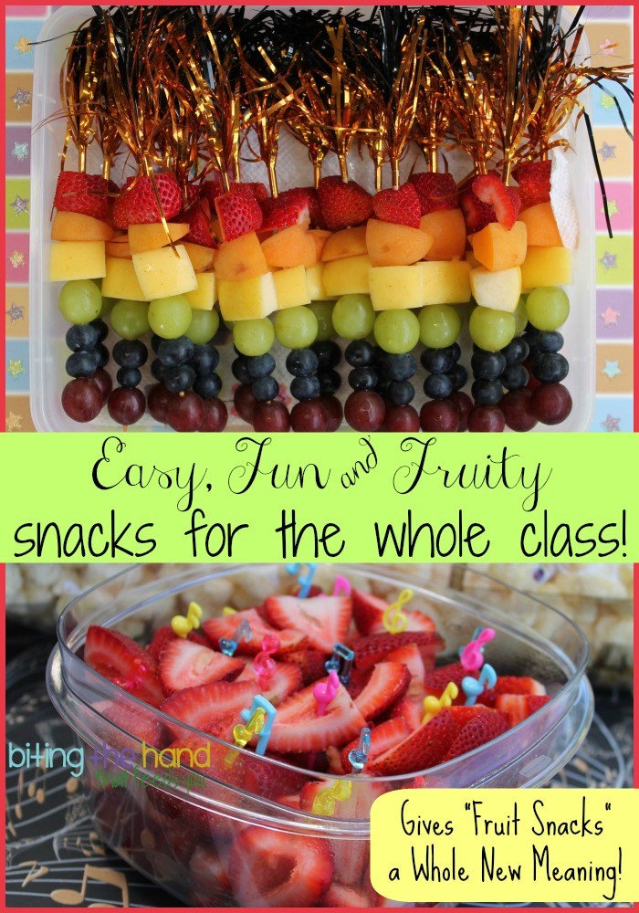 Classroom Snack Ideas ~ Biting the hand that feeds you easy and fun fruity