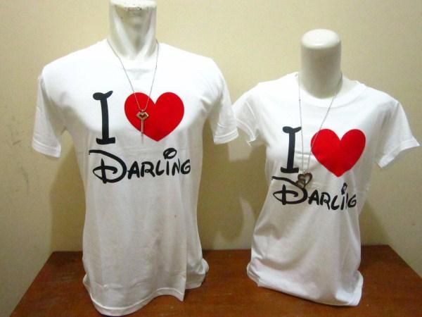 Gambar Kaos Couple I love Darling Warna Putih