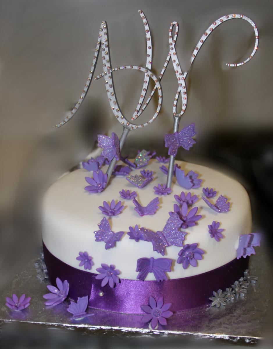 Happiness Sweets Amp Treats Purple Amp Silver Wedding Cake And Cupcake Tree