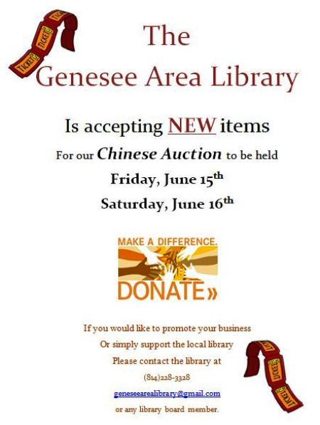 6-15/16 Genesee Area Library Accepting New Items