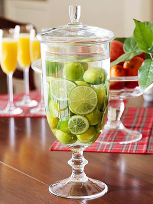 This lime-and-water vase is bright and refreshing