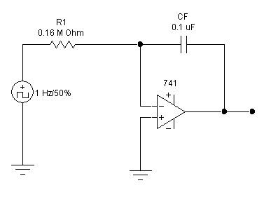 integrator using op amp 741 circuit