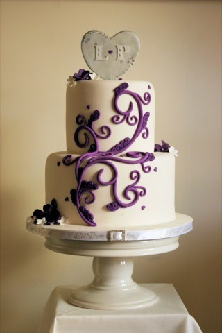 Let Them Eat Cakes Purple And Silver Wedding Cake