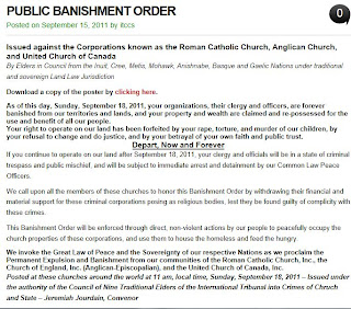 PUBLIC BANISHMENT ORDER against the Corporations known as the Roman Catholic Church Anglican Church and United Church of Canada