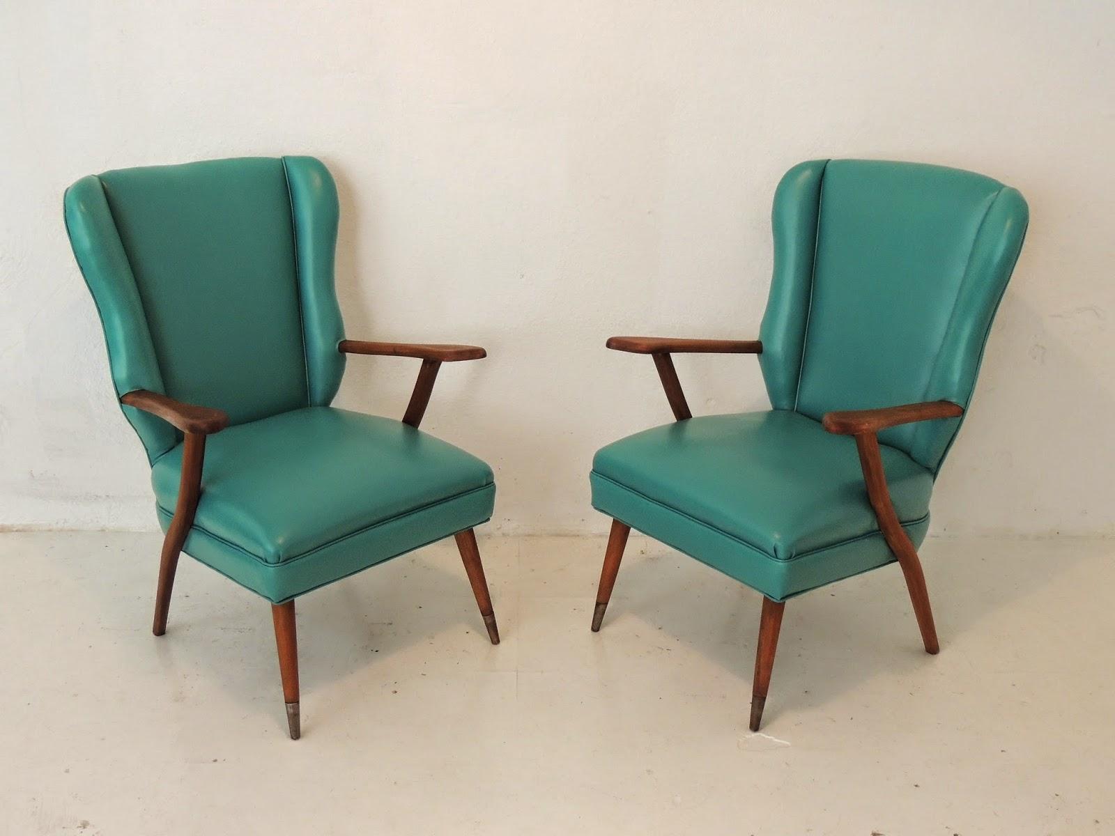 Antiguo par de sillones escandinavos en madera tapizados - Sillones vintage retro ...