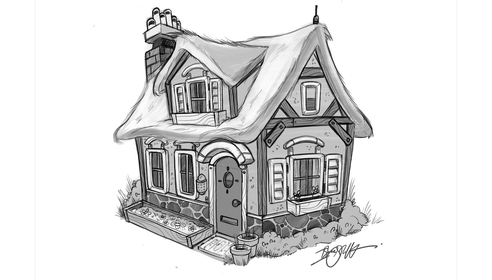 Isaac Orloff Illustration Cottage Sketch