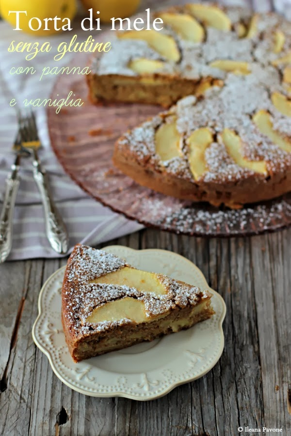 torta di mele con panna e vaniglia ( senza glutine )
