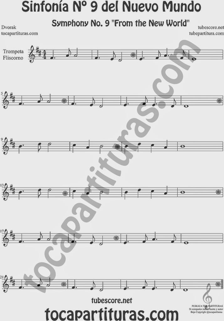 Sinfonía del Nuevo Mundo Partitura de Trompeta y Fliscorno Sheet Music for Trumpet and Flugelhorn Music Scores