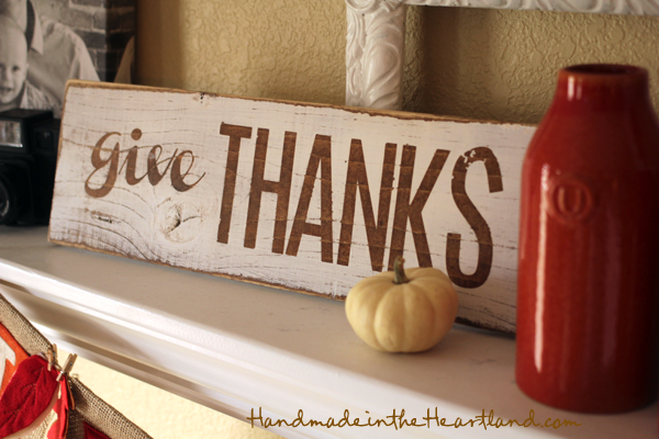 DIY Give Thanks Sign