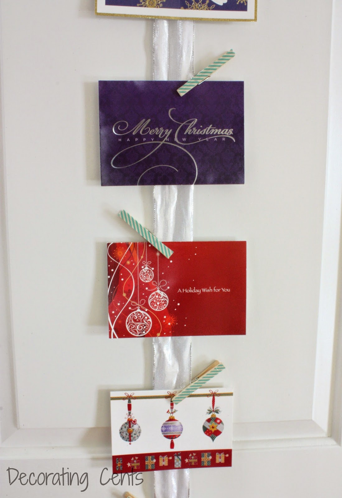 Decorating cents christmas card holder for Door xmas card holders