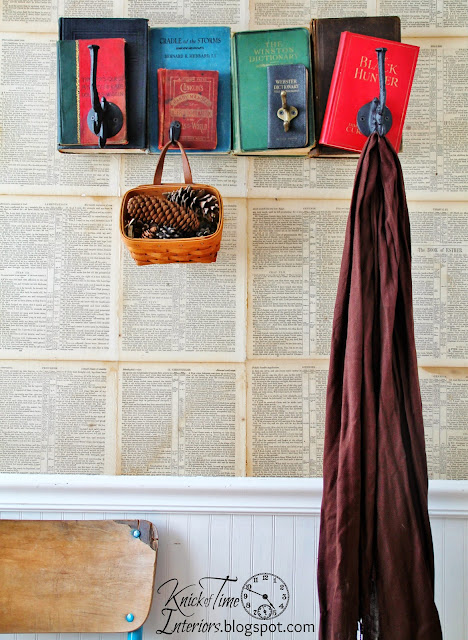 repurposed books coat rack by Knick of Time at KnickofTime.net