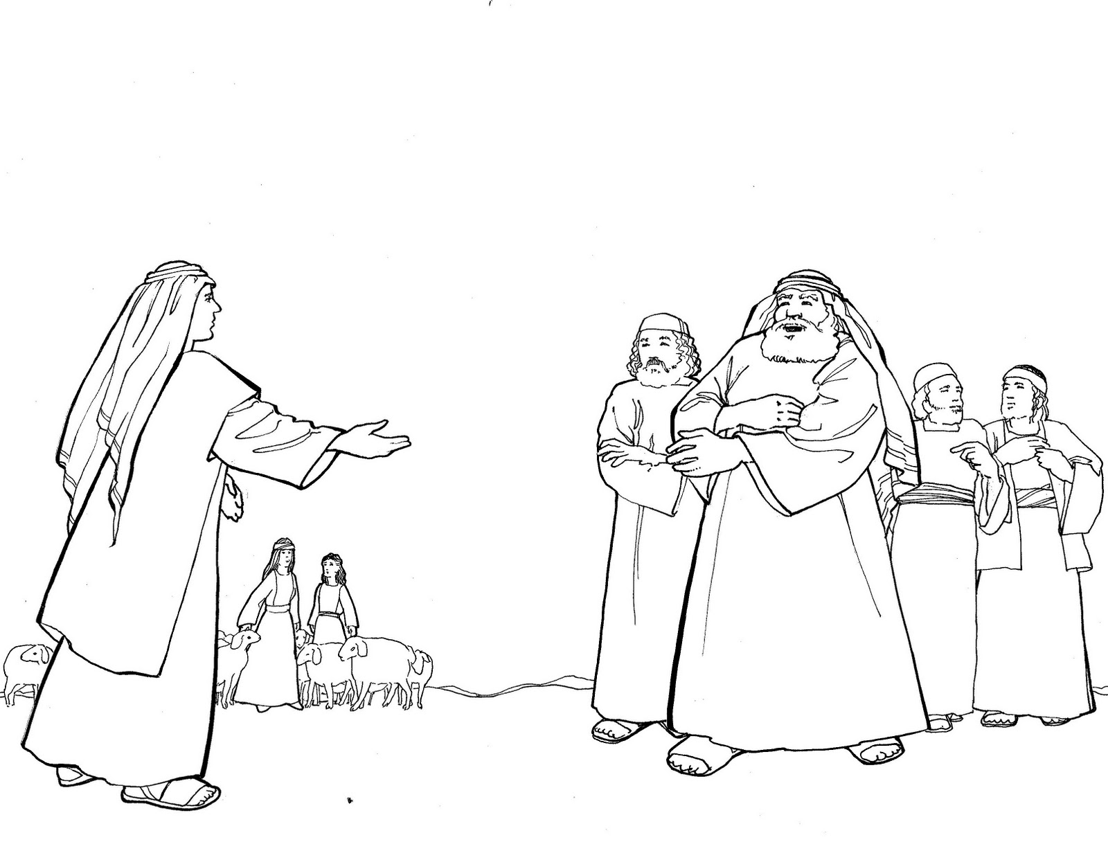 Jacob and laban coloring pages coloring pages for Jacob and rachel coloring page