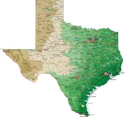 Carte du Texas Departement Région