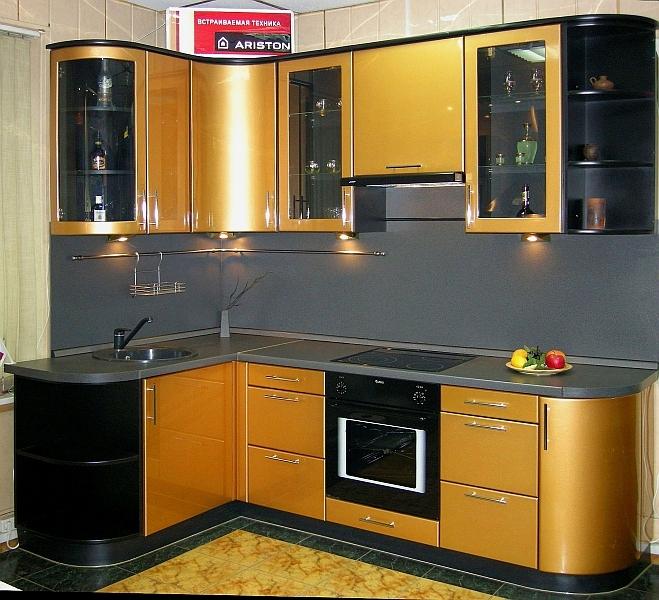 Угловые кухни из пластика фото