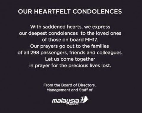 heartfelt condolences from Malaysian Airlines management