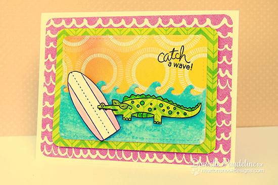 Alligator Surfboard card by Danielle Pandeline for Newton's Nook Designs | Beach Party Stamp Set