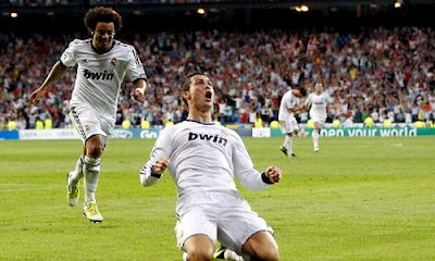 Marcelo and Cristiano celebrate the victory 100 of Real Madrid in the European Cup