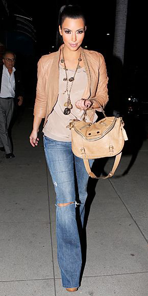 Kim Kardashian wearing flared jeans, people and styles, spring trend, street style, pinterest street style