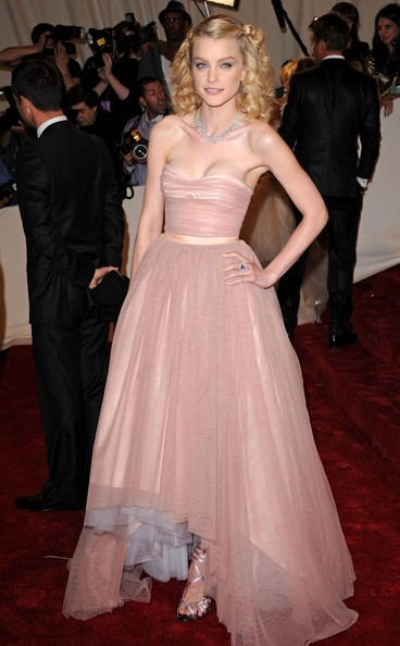 Jessica Stam in a  gorgeous, petal-pink tulle Tommy Hilfiger gown at the 2011 MET Gala.