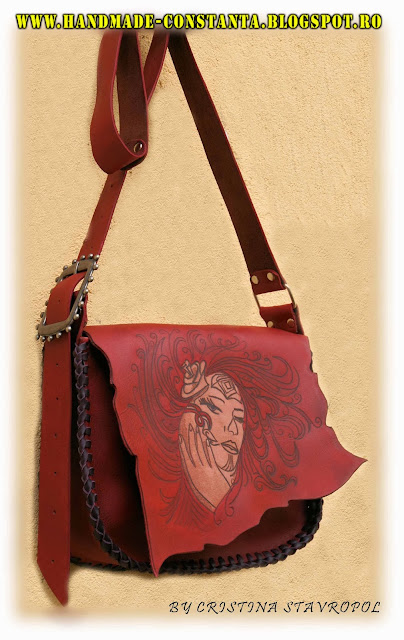 Red leather bag, vintage
