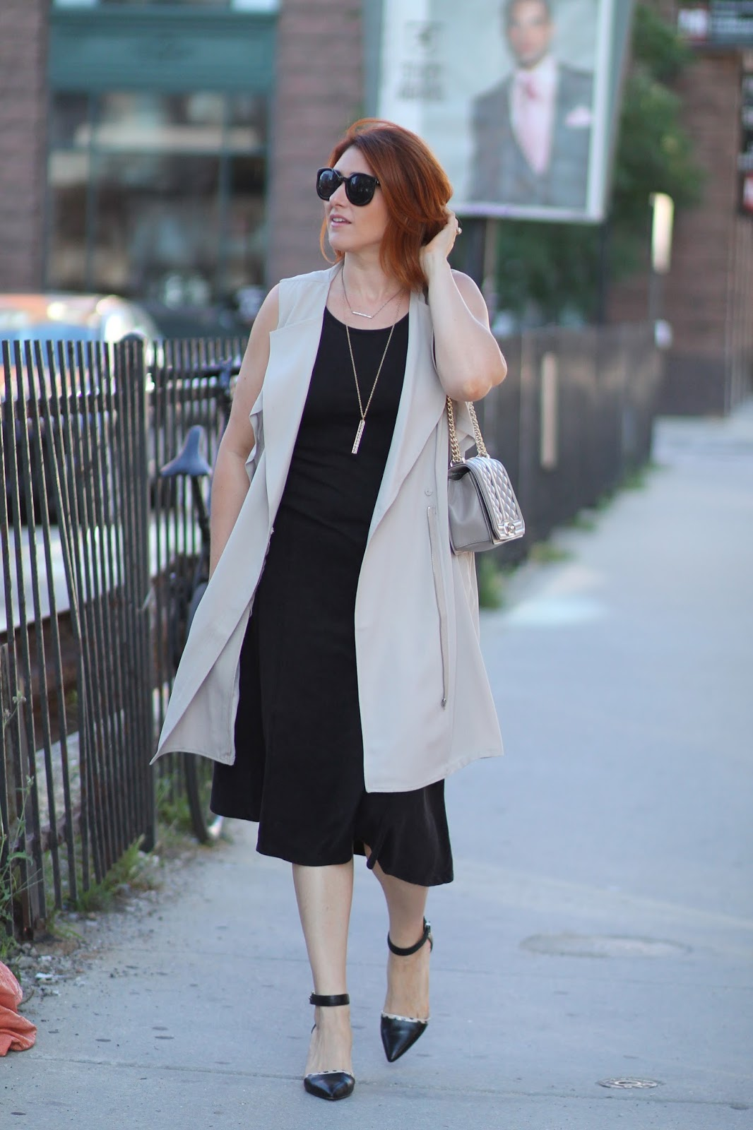 long, vest, sleeveless, blazer, midi, dress