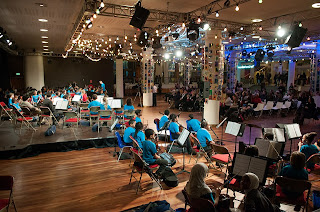 The young musicians of the Stockwell Children's Orchestra perform during In Harmony Lambeth's winter concert. (Photo: Reynaldo Trombetta / In Harmony Sistema England) &#8212; at Southbank Centre.