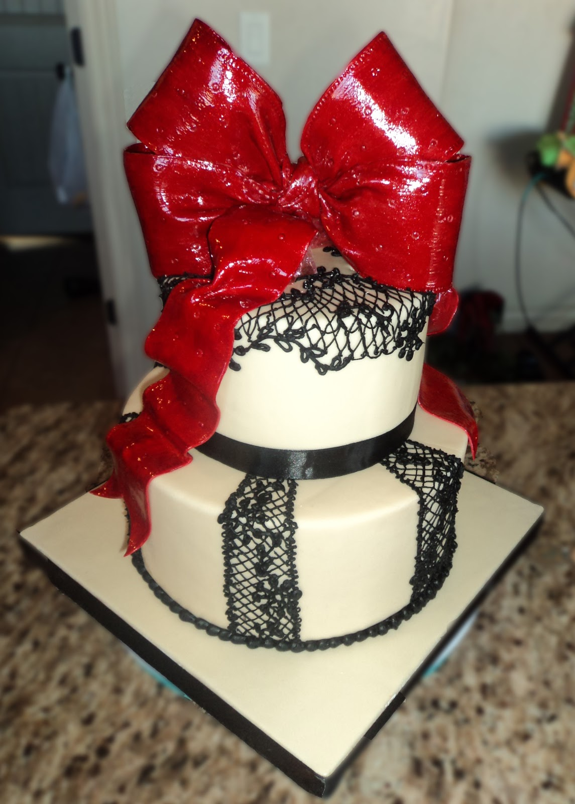 Delectable Cakes Spanish Lace Giant Red Bow Birthday Cake