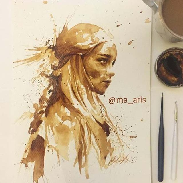 Maria A. Aristidou specializes in commercial art, illustrations and cake design. Her recent project is Coffee Paintings.