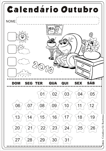 Calendário Outubro Galinha Pintadinha