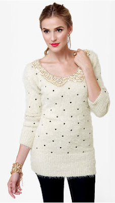 Fuzzy Polka Dot sweater Wild-society