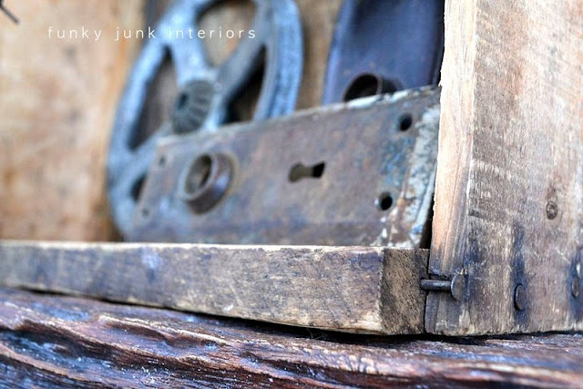 old crate with broken wood  / How to decorate a junk style mantel via http://www.funkyjunkinteriors.net